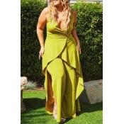 Lovely Trendy V Neck Asymmetrical Green Plus Size