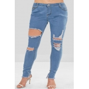 Lovely Trendy Hollow-out Baby Blue Plus Size Jeans