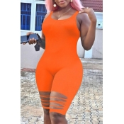 Lovely Leisure Hollow-out Orange One-piece Romper