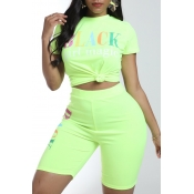 Lovely Leisure Letter Print Green Two-piece Shorts