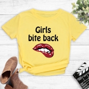 Lovely Casual Lip Print Yellow T-shirt