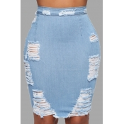 Lovely Stylish Broken Holes Baby Blue Skirt