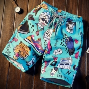 Lovely Stylish Cartoon Print Blue Shorts