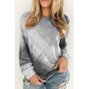 Lovely Casual O Neck Tie-dye Grey Plus Size T-shir