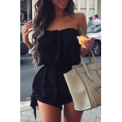 Lovely Stylish Lace-up Black Plus Size One-piece R
