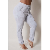 Lovely Casual Hollow-out Grey Plus Size Pants