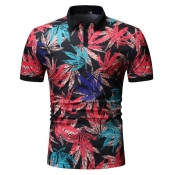 Lovely Stylish Turndown Collar Print Black Shirt