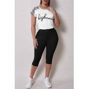 Lovely Casual Letter Print White Two-piece Pants S