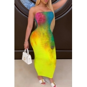 Lovely Leisure Tie-dye Yellow Ankle Length Dress