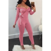 Lovely Trendy Lace-up Pink One-piece Jumpsuit