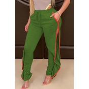 Lovely Casual Side High SlitGreen Pants