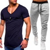 Lovely Casual V Neck Basic Black Two-piece Pants Set