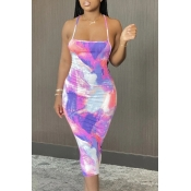 Lovely Leisure Tie-dye Light Purple Mid Calf Dress