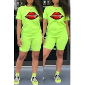 Lovely Leisure O Neck Lip Zipper Design Green Two-piece Shorts Set