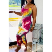 Lovely Trendy Tie-dye Rose Red One-piece Jumpsuit