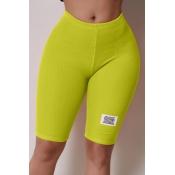 Lovely Casual Basic Skinny Green Shorts