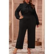 Lovely Trendy Lace-up Black Plus Size One-piece Ju