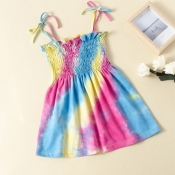 Lovely Sweet Tie-dye Multicolor Girl Mid Calf Dres