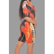 Lovely Casual Print Orange Plus Size Two-piece Sho
