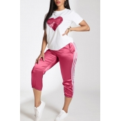 Lovely Leisure Patchwork Pink Two-piece Pants Set