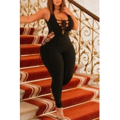 Lovely Sexy Bandage Design Black One-piece Jumpsui
