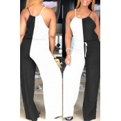 Lovely Stylish Patchwork Black And White One-piece