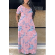 Lovely Bohemian V Neck Print Purple Maxi Dress