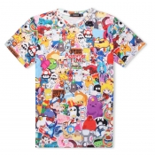 Lovely Casual O Neck Cartoon Print Multicolor T-shirt