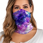 Lovely Leisure Starry Sky Print Purple Face Scarf