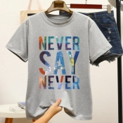 Lovely Casual O Neck Letter Grey T-shirt