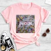Lovely Street O Neck Print Pink T-shirt