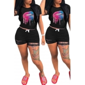 Lovely Leisure O Neck Lip Print Black Two-piece Shorts Set
