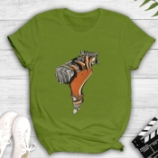 Lovely Casual O Neck Print Green T-shirt