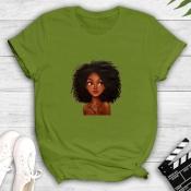 Lovely Leisure O Neck Print Green T-shirt