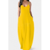 Lovely Leisure Pocket Patched Yellow Maxi Dress