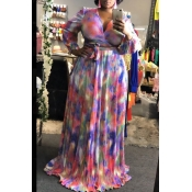 lovely Stylish Tie-dye Multicolor Plus Size Two-pi
