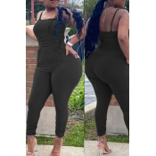 lovely Sexy Pocket Patched Black Plus Size One-pie