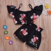 lovely Stylish Floral Print Black Girl Two-piece S