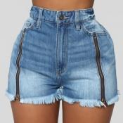 lovely Trendy Zipper Design Blue Shorts