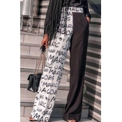 Lovely Casual Letter Patchwork Black Pants