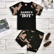 lovely Casual Letter Print Black Boy Two-piece Sho