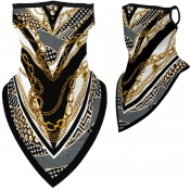 lovely Sportswear Print Gold Face Scarf