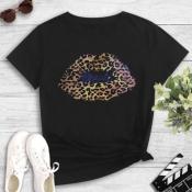 lovely Street Lip Print Black T-shirt