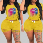 lovely Leisure Print Yellow Plus Size Two-piece Sh