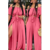 lovely Casual Side High Slit Pink Plus Size Two-pi