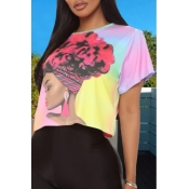 lovely Casual Print Pink T-shirt