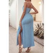 lovely Casual Side Slit Blue Ankle Length Dress