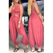 lovely Leisure Hollow-out Pink Plus Size One-piece