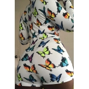 lovely Trendy Butterfly Print Multicolor Plus Size One-piece Romper