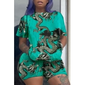 lovely Casual O Neck Print Green Plus Size Two-pie